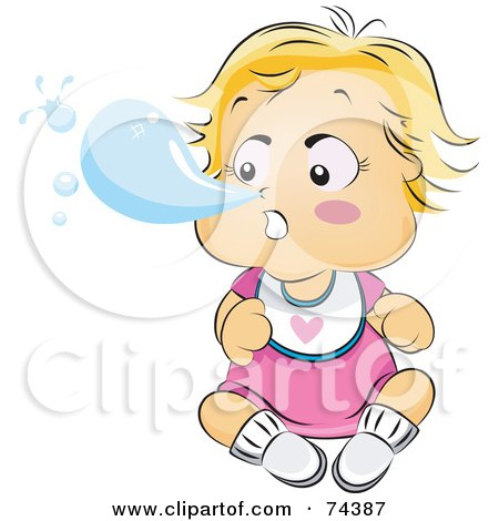 Royalty-Free (RF) Clipart Illustration of a Blond Baby Blowing A Snot Bubble Out Of Her Nose by BNP Design Studio