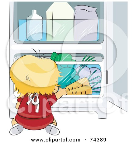 Royalty-Free (RF) Clipart Illustration of a Blond Baby Chef Reaching For Veggies In A Fridge by BNP Design Studio