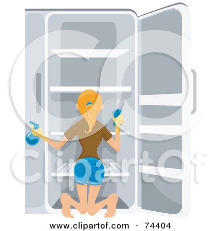 Royalty-Free (RF) Clipart Illustration of a Pretty Housewife Cleaning Out Her Refrigerator by BNP Design Studio