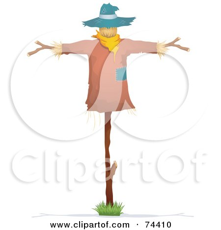 Royalty-Free (RF) Clipart Illustration of a Straw Scarecrow With A Blue Hat by BNP Design Studio