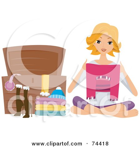 Royalty-Free (RF) Clipart Illustration of a Pretty Housewife Storing Clothes In A Chest by BNP Design Studio