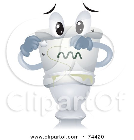 Royalty-Free (RF) Clipart Illustration of a Toilet Character With Gross Green Slime by BNP Design Studio
