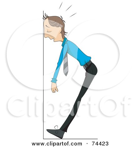 Royalty-Free (RF) Clipart Illustration of a Sick Or Stressed Man Collapsing Against A Wall by BNP Design Studio