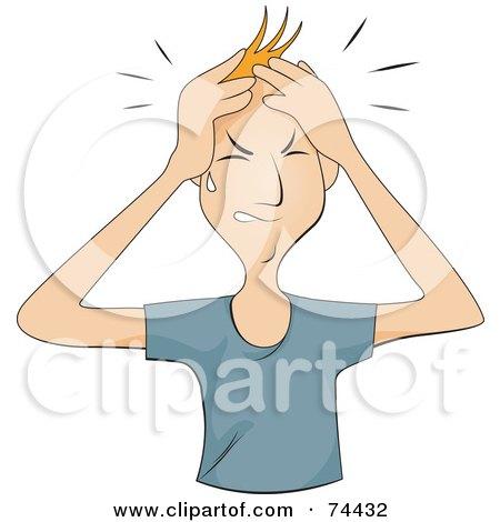 Royalty-Free (RF) Clipart Illustration of a Man Shedding A Tear And Rubbing His Head - Headache by BNP Design Studio