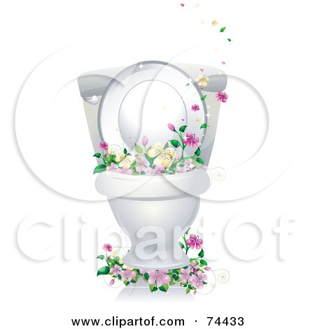 Royalty-Free (RF) Clipart Illustration of a Clean Porcelain Toilet Bowl With Flowers by BNP Design Studio