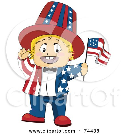 Royalty-Free (RF) Clipart Illustration of a Blond Baby Waving A Flag And Wearing An American Suit by BNP Design Studio