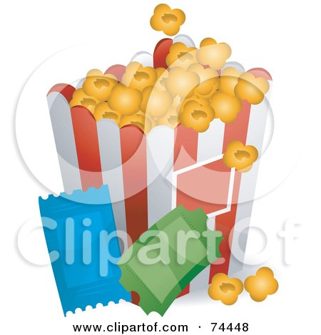 Container Of Buttered Popcorn And Two Movie Tickets Posters, Art Prints