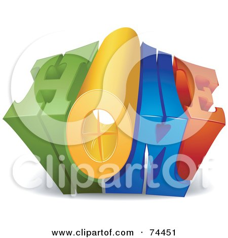 Royalty-Free (RF) Clipart Illustration of a 3d Home Word Growing Outwards by BNP Design Studio