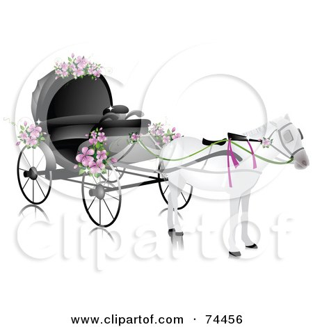 Royalty-free clipart picture of a white horse pulling a wedding carriage