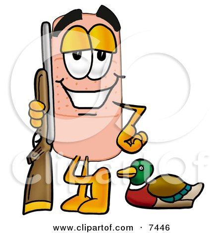 Clipart Picture of a Bandaid Bandage Mascot Cartoon Character Duck Hunting, Standing With a Rifle and Duck by Toons4Biz