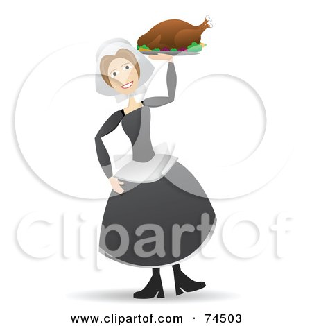Royalty-Free (RF) Clipart Illustration of a Happy Pilgrim Lady Carrying A Turkey On A Platter With One Hand by mheld