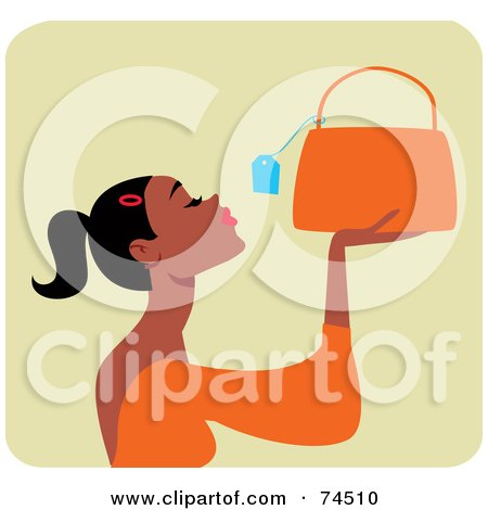 Royalty-Free (RF) Clipart Illustration of a Black Woman Looking At The Price Tag On A Purse by Monica