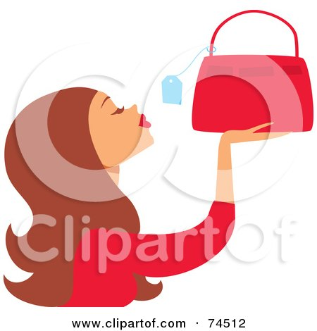 Royalty-Free (RF) Clipart Illustration of a Brunette Haired Woman Looking At The Price Tag On A Purse by Monica