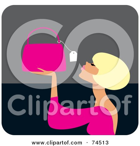 Royalty-Free (RF) Clipart Illustration of a Blond Haired Woman Looking At The Price Tag On A Purse by Monica