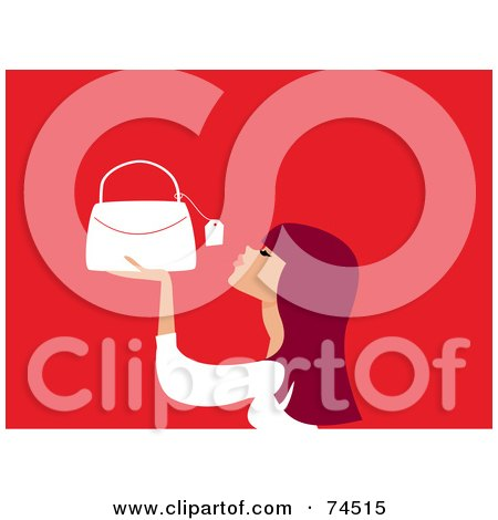 Royalty-Free (RF) Clipart Illustration of a Redhead Woman Looking At The Price Tag On A Purse by Monica