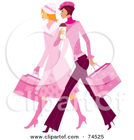 Royalty-Free (RF) Clipart Illustration of Two Stylish Ladies In Pink, Walking And Carrying Shopping Bags by Monica