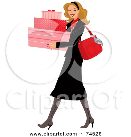 Royalty-Free (RF) Clipart Illustration of a Stylish Blond Woman Carrying Pink Shopping Boxes by Monica