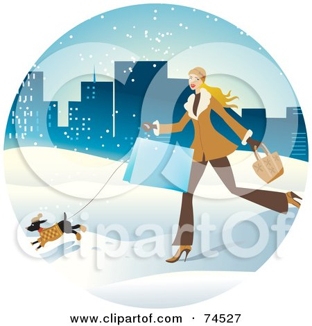 Royalty-Free (RF) Clipart Illustration of a Woman And Dog Running Through The Snow With Shopping Bags by Monica