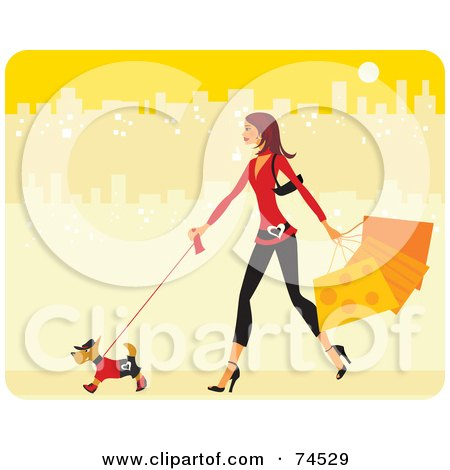 Royalty-Free (RF) Clipart Illustration of a Stylish Woman Walking Her Stylish Dog And Carrying Shopping Bags In A Yellow City by Monica