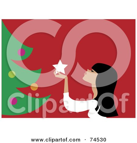 Royalty-Free (RF) Clipart Illustration of a Woman Admiring A Star Ornament While Decorating A Christmas Tree by Monica