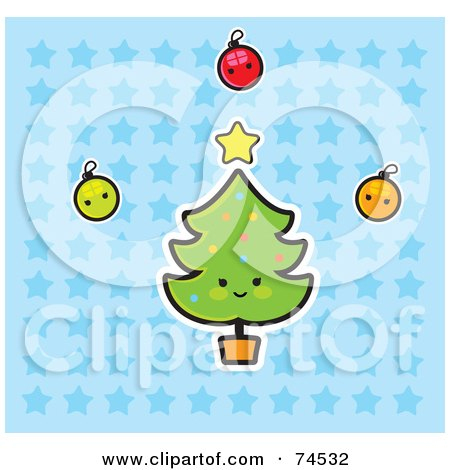 Royalty-Free (RF) Clipart Illustration of a Happy Christmas Tree With Baubles And A Star Over A Blue Starry Background by Monica