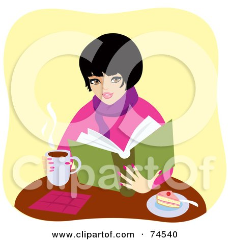 Royalty-Free (RF) Clipart Illustration of a Warm Woman Drinking Coffee And Eating Cake While Reading A Book by Monica