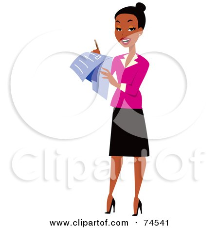 Royalty-Free (RF) Clipart Illustration of a Black Female Surveyor Or Businesswoman Using A Check List by Monica