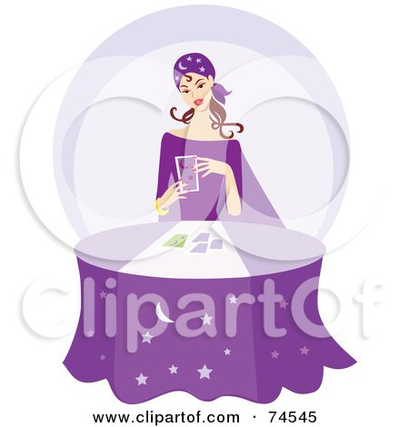 Young Gypsy Telling Fortunes At A Purple Table Posters, Art Prints