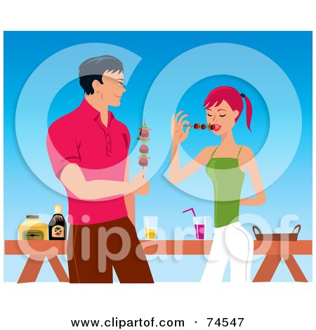 Royalty-Free (RF) Clipart Illustration of a Handsome Man And Woman Eating Shish Kebabs At A Bbq by Monica