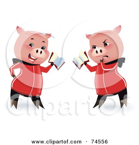 Royalty-Free (RF) Clipart Illustration of a Pig Shown In Two Poses, Reading With A Happy And Grumpy Expression by Monica