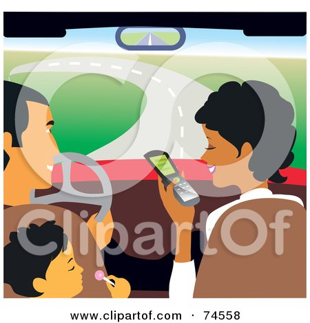 Royalty-Free (RF) Clipart Illustration of a Man And Boy Watching A Woman Use A Cell Phone In A Car by Monica