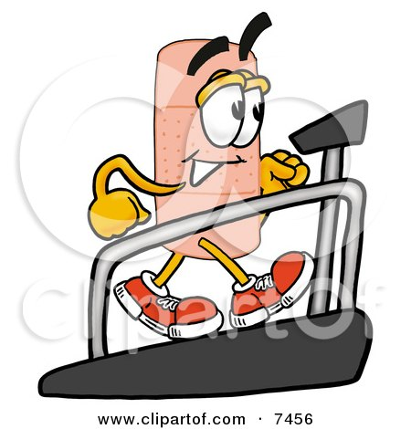 Clipart Picture of a Bandaid Bandage Mascot Cartoon Character Walking on a Treadmill in a Fitness Gym by Toons4Biz