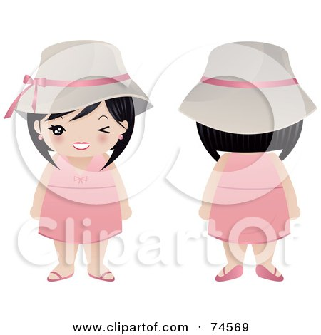 Royalty-Free (RF) Clipart Illustration of a Digital Collage Of An Asian Woman In A Pink Dress, Facing Front And Back by Melisende Vector