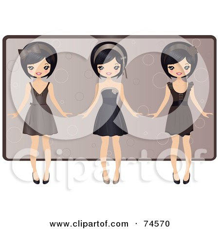 Royalty-Free (RF) Clipart Illustration of a Digital Collage Of An Asian Girl In Three Different Dresses by Melisende Vector