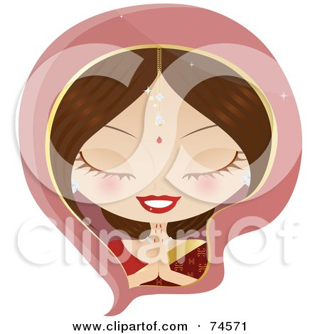 Royalty-Free (RF) Clipart Illustration of a Bollywood Indian Woman In Prayer by Melisende Vector