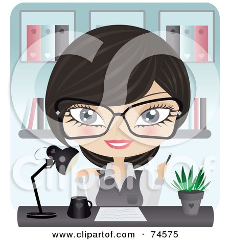 Royalty-Free (RF) Clipart Illustration of a Friendly Receptionist Working At Her Desk by Melisende Vector