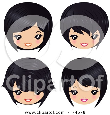 Royalty-Free (RF) Clipart Illustration of a Digital Collage Of Four Asian Heads With Different Hair Styles by Melisende Vector