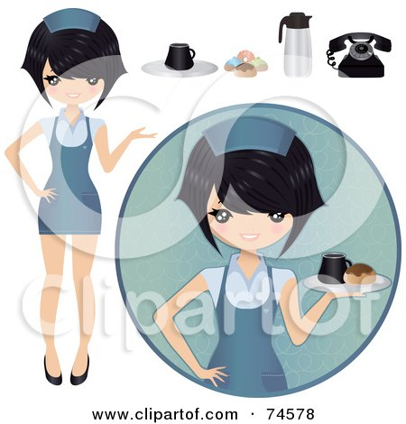 Royalty-Free (RF) Clipart Illustration of a Digital Collage Of An Asian Waitress With Food by Melisende Vector