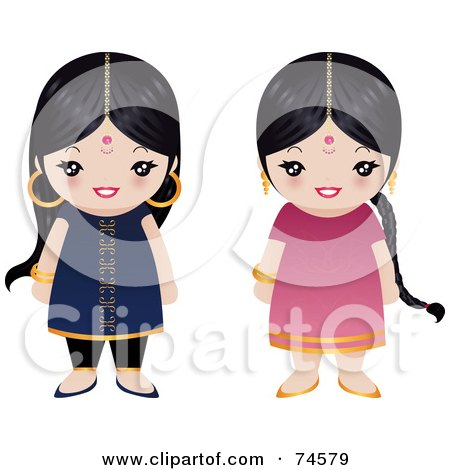 Royalty-Free (RF) Clipart Illustration of a Digital Collage Of Two Little Indian Girls by Melisende Vector