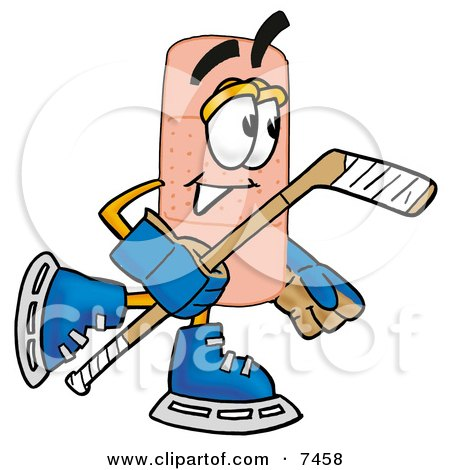 Clipart Picture of a Bandaid Bandage Mascot Cartoon Character Playing Ice Hockey by Toons4Biz