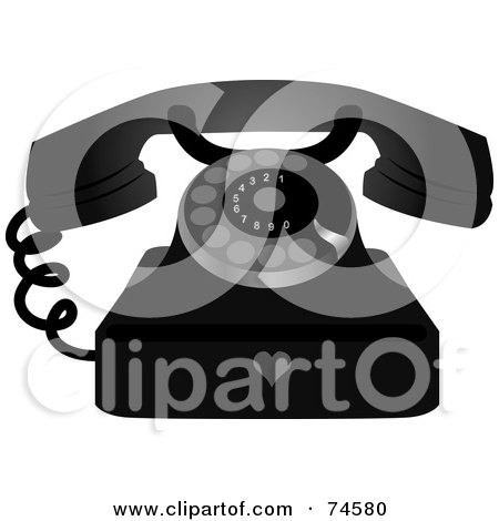 Royalty-Free (RF) Clipart Illustration of a Black And Silver Rotary Phone With A Heart Symbol by Melisende Vector