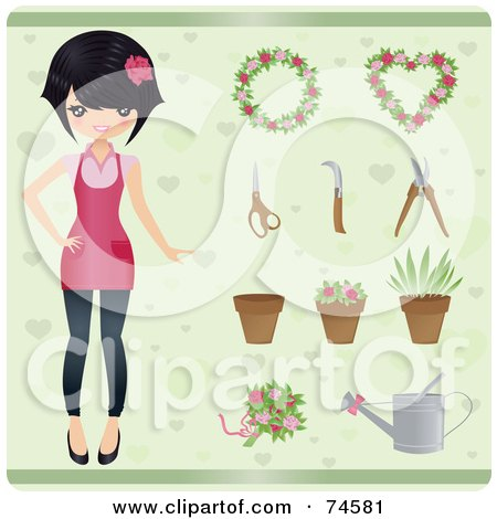 Royalty-Free (RF) Clipart Illustration of a Stylish Young Female Gardener With Plants And Tools Over Green by Melisende Vector