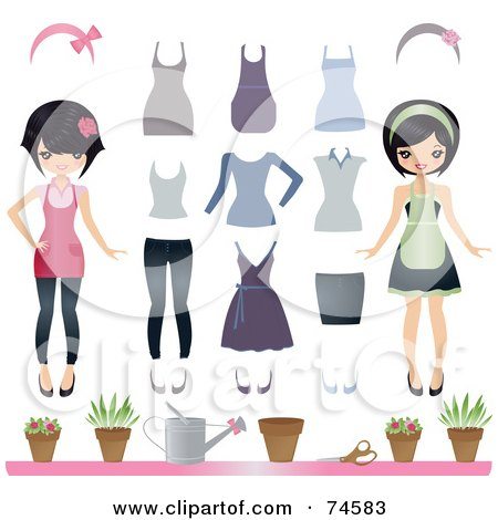 Royalty-Free (RF) Clipart Illustration of a Digital Collage Of An Asian Woman With Clothes And Gardening Supplies by Melisende Vector