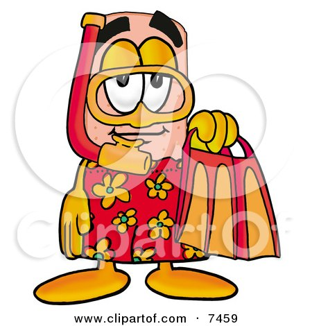 Clipart Picture of a Bandaid Bandage Mascot Cartoon Character in Orange and Red Snorkel Gear by Toons4Biz