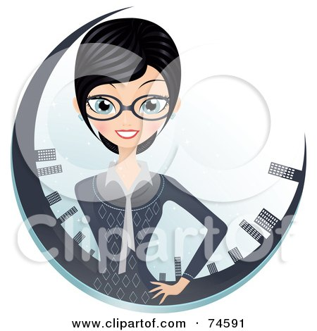 Royalty-Free (RF) Clipart Illustration of a Professional Businesswoman In A Circle Of Skyscrapers