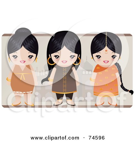 Royalty-Free (RF) Clipart Illustration of a Digital Collage Of Three Black Haired Indian Girls by Melisende Vector