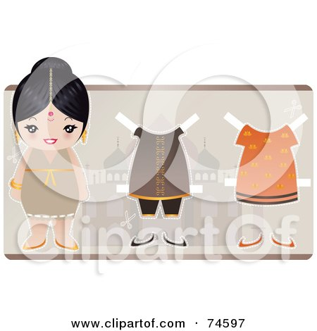 Royalty-Free (RF) Clipart Illustration of a Paper Doll Indian Woman With Clothes And Shoes by Melisende Vector