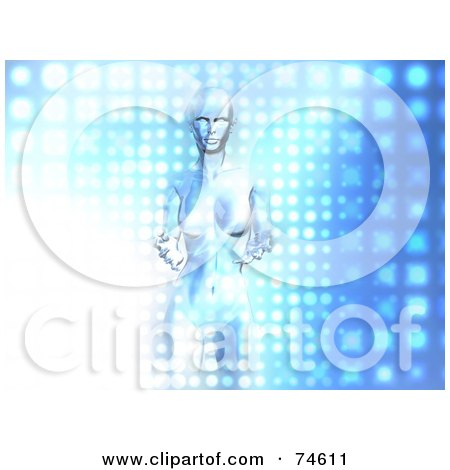 Royalty-Free (RF) Clipart Illustration of a Techno Woman Emerging From A Bright Blue Screen by Julos