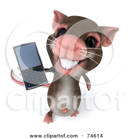 Royalty-Free (RF) Clipart Illustration of a 3d Mouse Character Using A Cell Phone - Version 2 by Julos