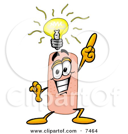 Clipart Picture of a Bandaid Bandage Mascot Cartoon Character With a Bright Idea by Toons4Biz